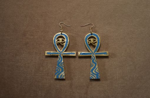 Custom Made Aqua Ankh Earrings