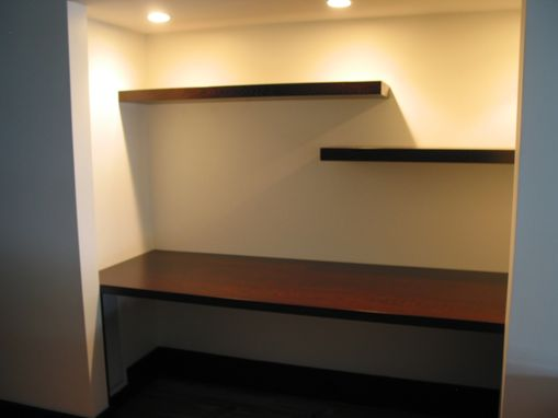 Custom Wenge Desk With Floating Shelves By Earl Kelly Furniture Custommade Com