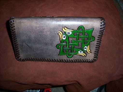 Custom Made Celtic Design Leather Check Book