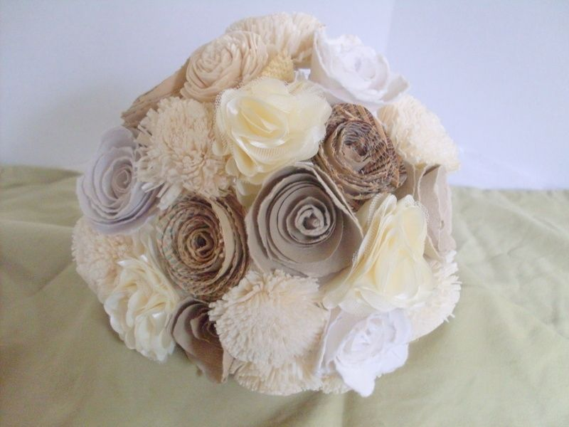 Hand Crafted Rustic Shabby Chic Paper Flower Bouquet by Angela\'s ...