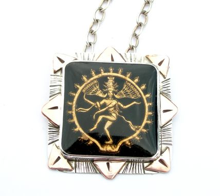 Custom Made Shiva Necklace Statement Peice, Vintage Glass Reverse Intaglio, Yoga Inspired Jewelry Necklace