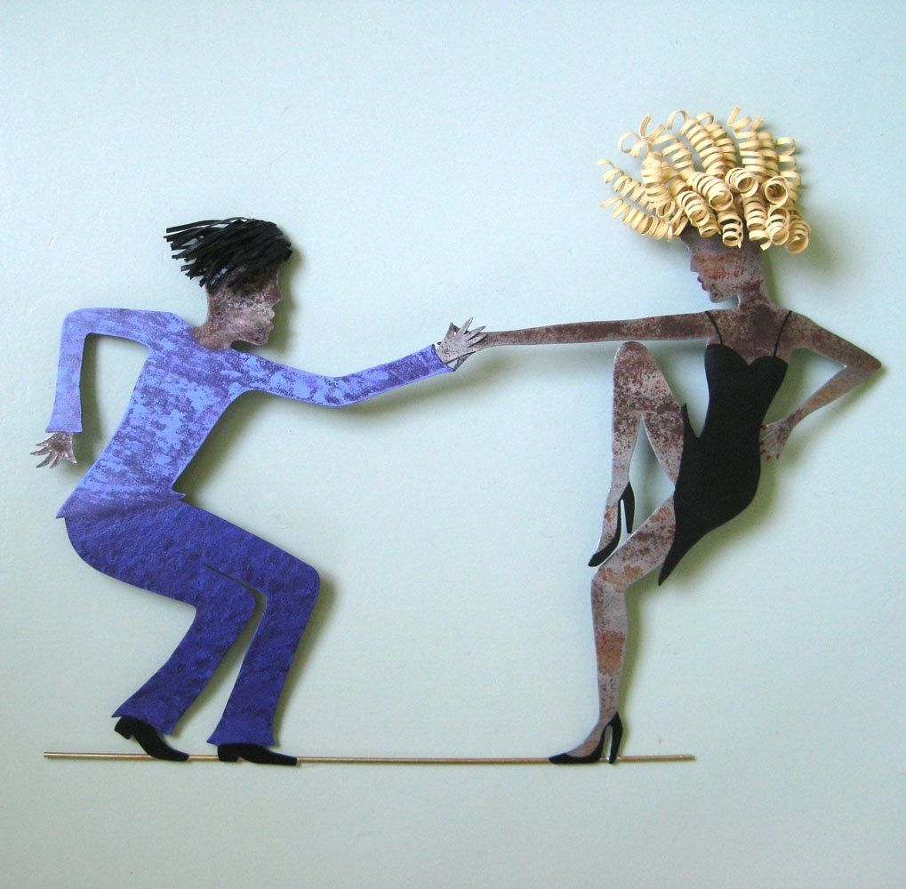 Upcycled Wall Art Custom Handmade Upcycled Metal Jazz Dancers Wall Art Sculpture By