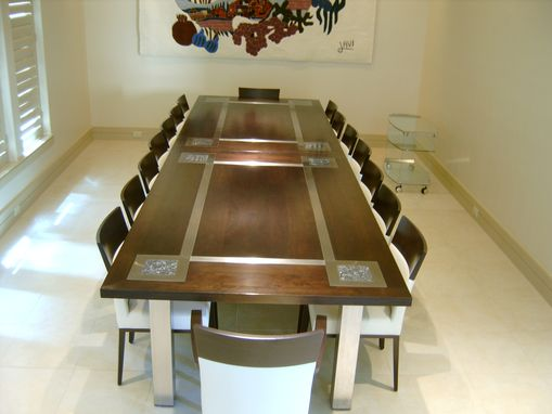 Custom Made Black Walnut And Stainless Steel Dining Table