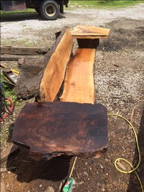Custom Made Live Edge Butternut Wood Bench