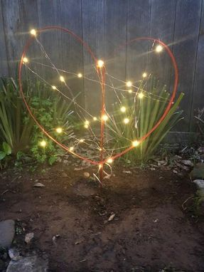 Custom Made Wine Barrel Heart Yard Sculpture With Fairy Lights