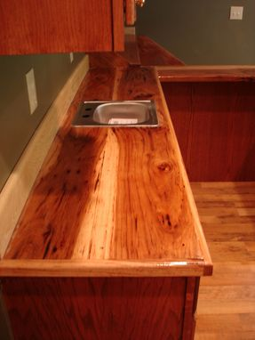 Custom Made Oak Bar With Hickory Counter Top
