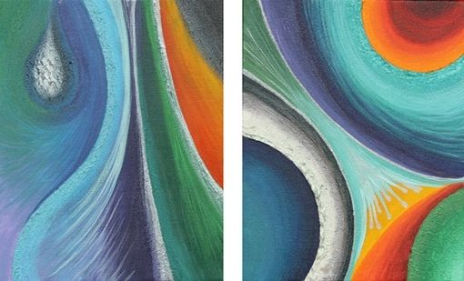 Custom Made Abstract Paintings (Set Of 2) Multi-Coloured (Originals Not A Print)