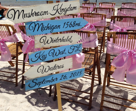Custom Made Beach Wedding Decor, Wooden Personalized Arrow Sign.