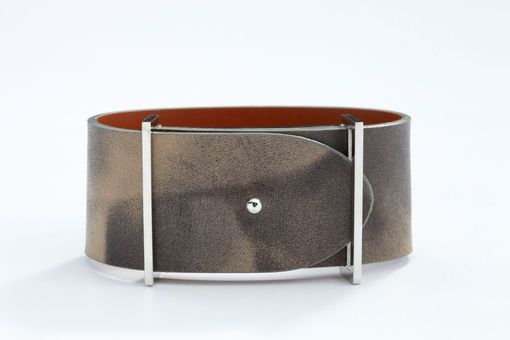 Custom Made Genuine Leather Bracelet In Washed Gray