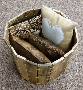 Custom Made Pallet Wood Round Bin Hand Knotted With Rope Twine