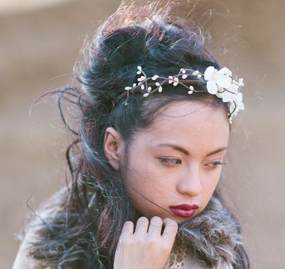Custom Made Woodland Flowers And Ivory Berry Headband For Weddings