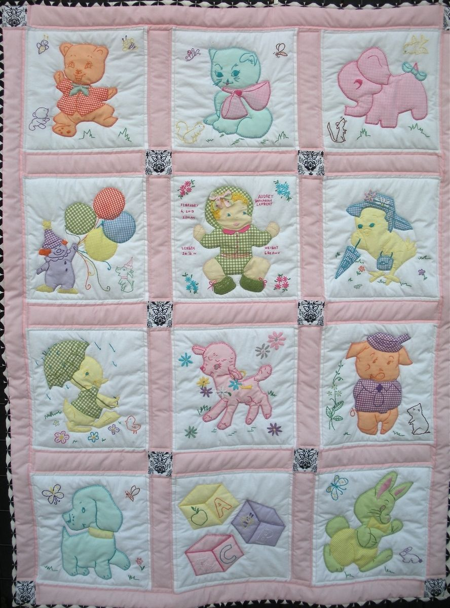 Hand Crafted Vintage Baby Quilt By One Bee Lane Llc