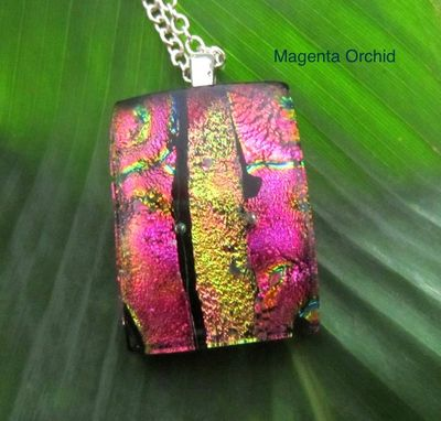 Custom Made Fused Glass Pendant With Sterling Silver Bail And Chain - Magenta Orchid