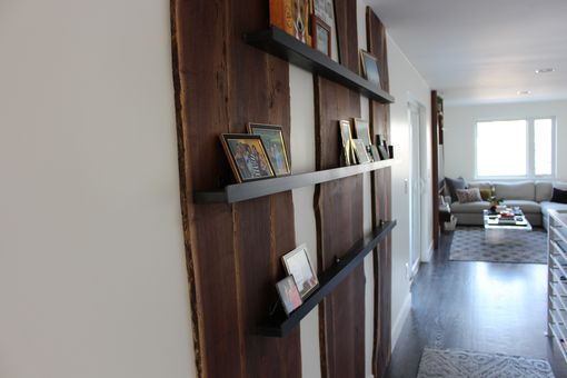 Custom Made Black Walnut Accent Wall With Shelving