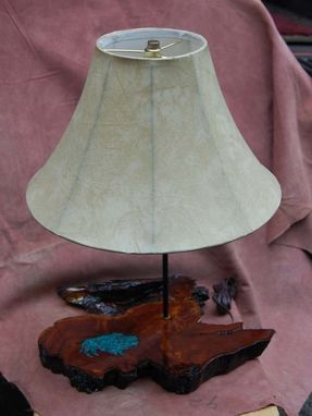 Custom Made Inlayed Redwood Lamp
