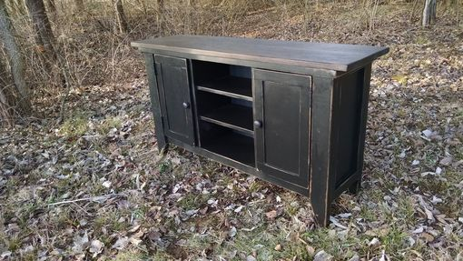 Custom Made 2 Door Media Black With Walnut Stain
