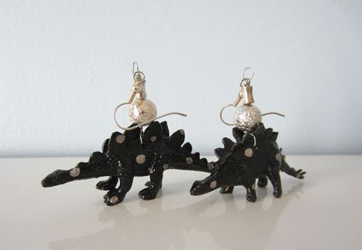 Custom Made Upcycled Earrings Made From Toy Dinosaurs - Black Stegosaurus With Silver Polka Dots