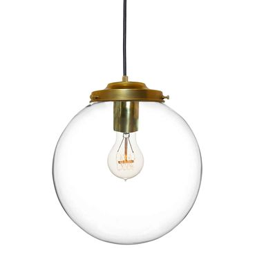 "Custom Made 8"" Clear Blown Glass Globe Pendant Light- Brass"