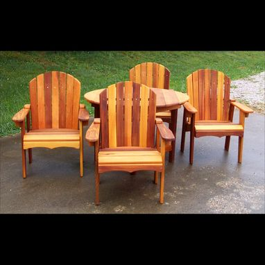 "Custom Made 46"" Garden Table With Four Matching Chairs"