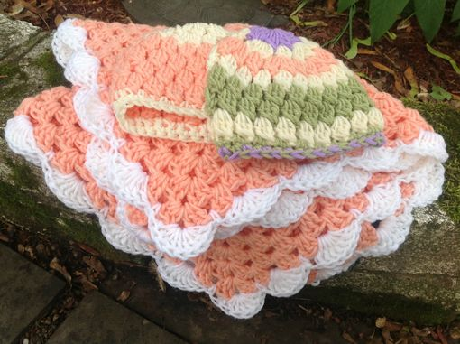 Custom Made Crochet Granny Square Baby Afghans And Hats