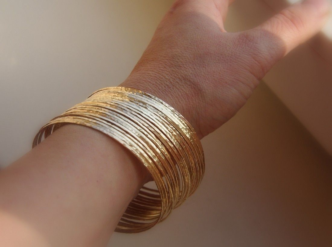 Hand Crafted Set Of 5 Skinny 14k Gold Filled Hammered Stackable Bangles Made To Order From Nadine Jewelry Custommade