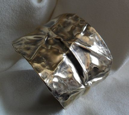 Custom Made Polished Folded Brass Cuff Bracelet