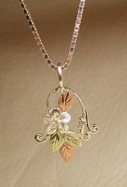 Custom Made Black Hills Gold On Silver Forget-Me-Not With Twine Pendant