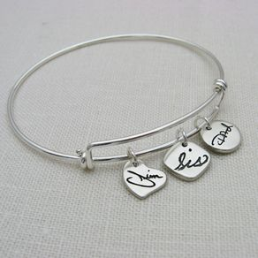 Personalized Sterling Silver Charms On A Adjule Bangle Bracelet