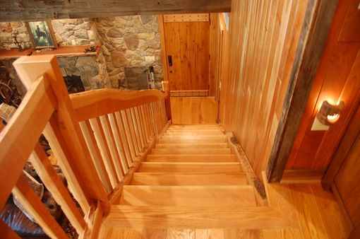 Custom Made Cherry Staircase With Live Edge Slab Material