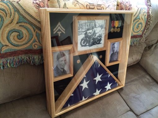 Custom Made Memorial Casket Flag W/Picture Frames