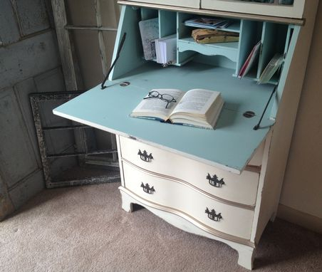 Vintage Secretary Hutch Cabinet Desk Small Painted Distressed