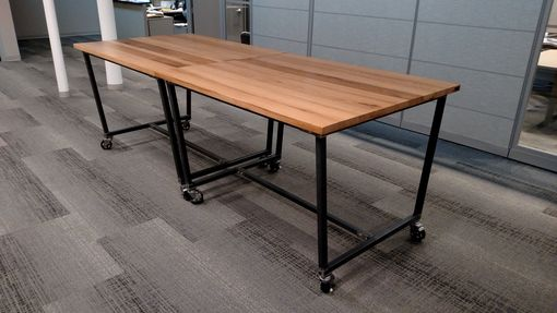 Custom Made Reclaimed Oak High-Top Work Table W/ Casters