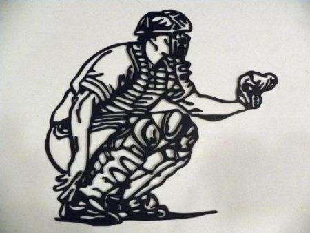 Custom Made Baseball Catcher Metal Wall Art Sports Decor