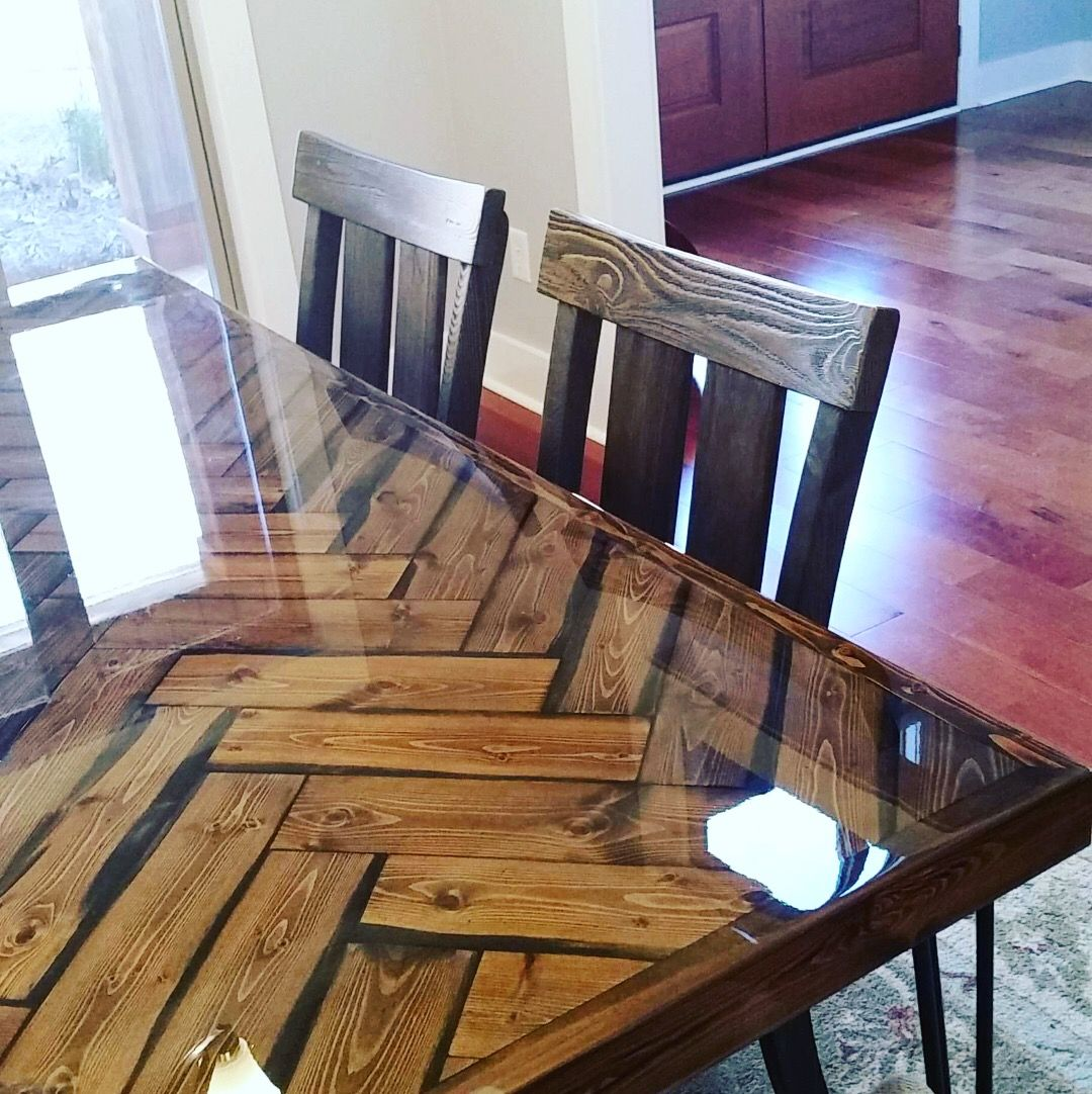 A Custom Herringbone Dining Table