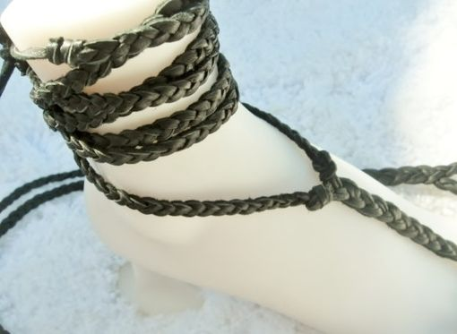 Custom Made Plain Black Deerskin Hand Braided Barefoot Sandals. Unisex. Dancer Jewelry. Rustic. Artisan.