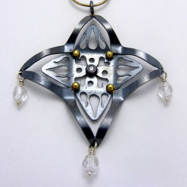 Custom Made Sterling Silver And Gold One Of A Kind Pendant With Cz And Crystal Beads