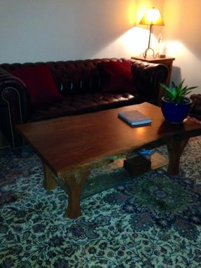 Custom Made Cherry Slab And Antique Glass Coffee Table