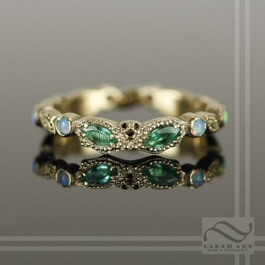 Custom Made The Masquerade Ball - 14k Yellow Gold With Emerald And Opal