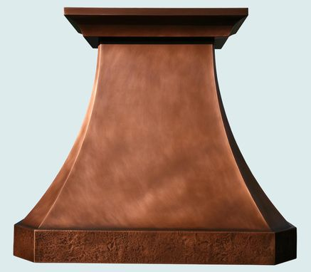 Custom Made Copper Range Hood With Reverse Hammered Band