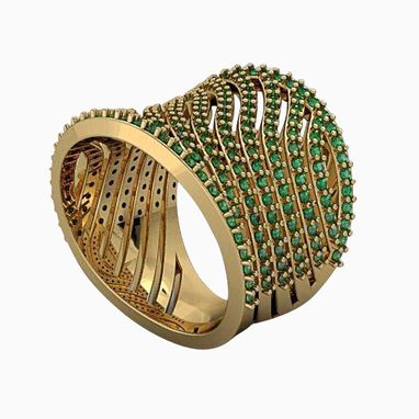 Custom Made Fashionable 14k Womens Yellow Gold Emerald Ring