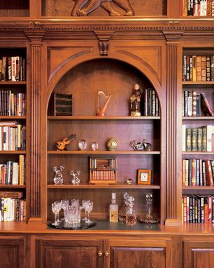 Custom Made Walnut Library Wall With Ladder