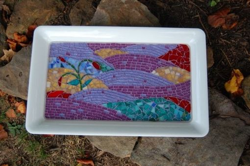 "Custom Made Mosaic Serving Tray ""Purple Passion"""