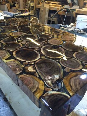 Custom Made Clear Epoxy Albizia & Tamarind Rounds Coffee Table
