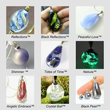 Custom Made Reflections™ Pendant Handmade Memorial Glass Lampwork. Cremation, Hair, Urn, Mori, Reliquary