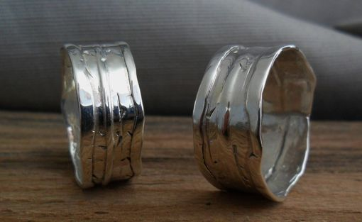 Custom Made Fold Formed Rustic Sterling Silver Ring Wedding Band