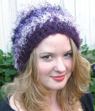 Custom Made Fuzzy Beanie, Purple, Fun Fur, Washable, Soft