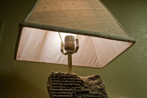 Custom Made Concrete Slab Table Lamp With Dupioni Silk Shade