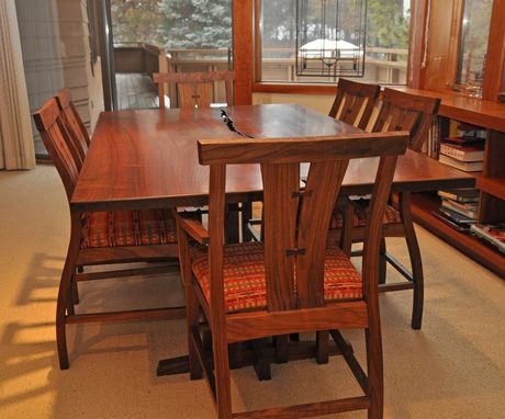 Custom Made Crotch Walnut Dining Table And Chairs