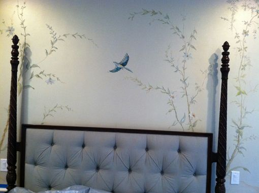 Custom Made Hand Painted Mural- Birds And Fauna -Master Bedroom
