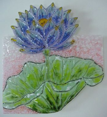 Custom Made Blue Lily - Glass Fusing Artwork